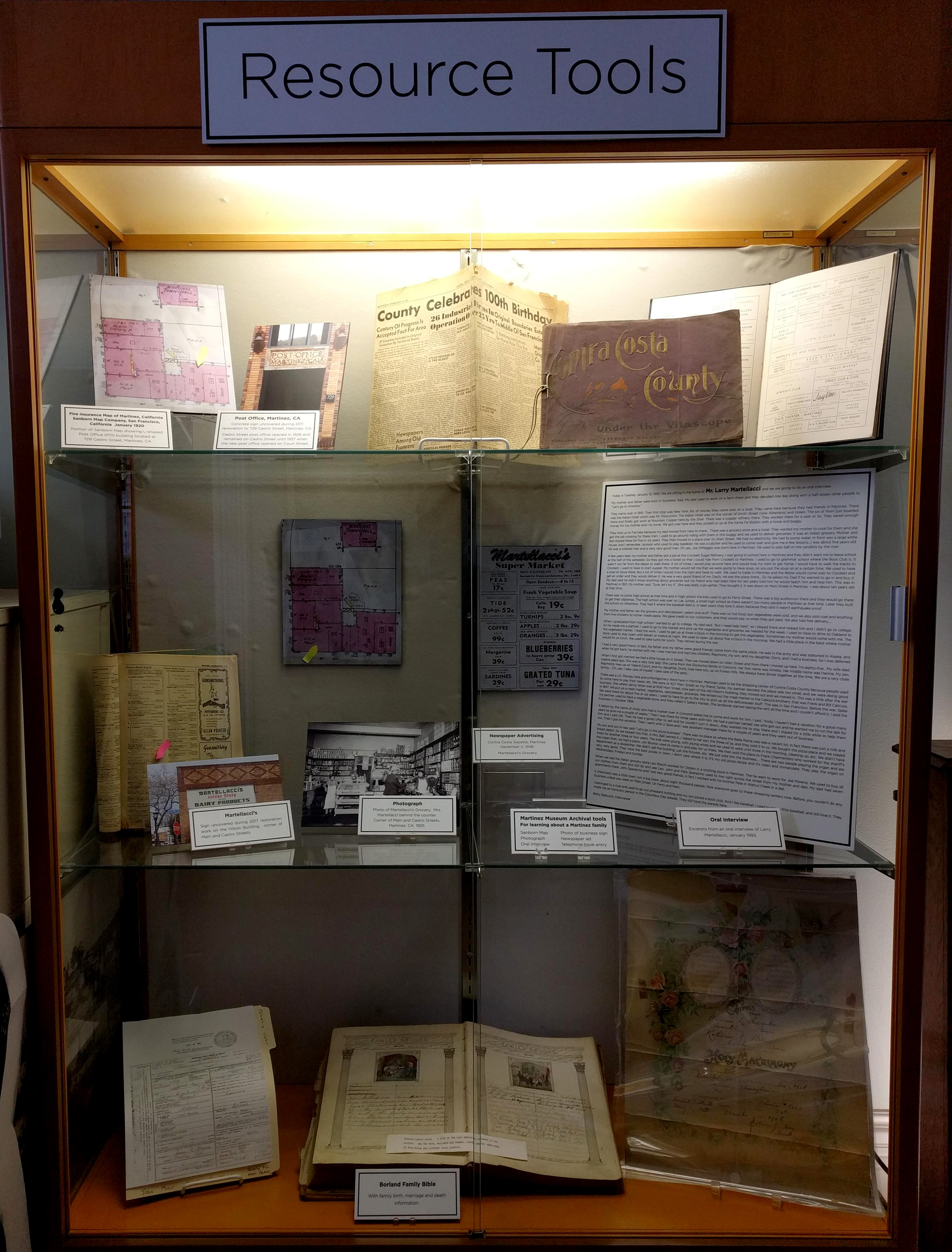 Martinez Museum Resource Tools Display
